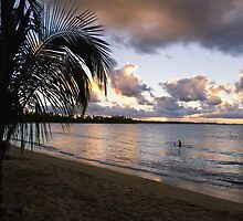 Caribbean Sunset at Vacia Telaga Beach by George Oze