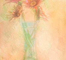 A Vase Of Gerbera Daisies In The Sun by Diane Schuster