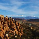 Rock towers and Manti La Sal Mountains, Utah by Claudio Del Luongo