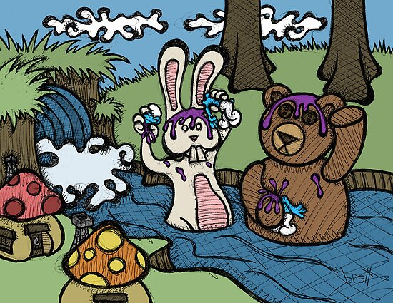 Teddy Bear And Bunny - Shampoo by Brett Gilbert