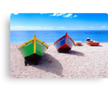 Frontal View of Caribbean Fishing Boats  Canvas Print