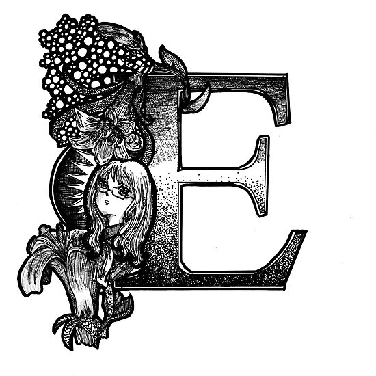 'E' Initial in Ink by MargoMundo