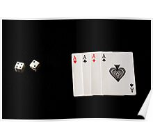 Playing Cards and Cubes Poster