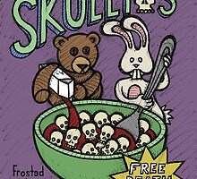 Teddy Bear And Bunny - Skullios by Brett Gilbert