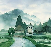Japanese Village , After Rain , Art Watercolor Painting print by Suisai Genki by suisaigenki