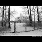 House With Chain-Link Fence In Winter - Middle Island, New York  by  Sophie Smith