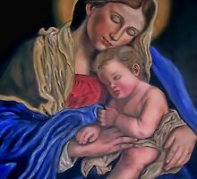 Mary with baby Jesus sleeping by tsita13