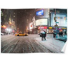 Times Square in the Snow - Winter in NYC Poster