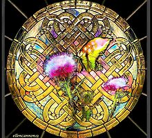 Stained Glass Template: Thistle Butterfly by ecannon11