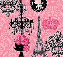 French Girly Eiffel Tower, Poodle & Damask Elegant by GirlyGirl