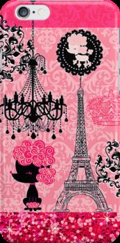 French Girly Eiffel Tower, Poodle & Damask Elegant by GirlyGirl
