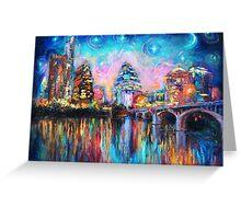Impressionistic Austin Art Night Skyline cityscape #1 Svetlana Novikova  Greeting Card