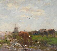 Cattle Grazing at the Water's Edge, c.1880-90 by Bridgeman Art Library