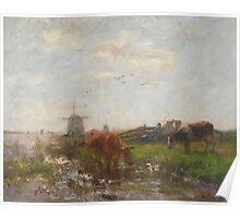 Cattle Grazing at the Water's Edge, c.1880-90 Poster