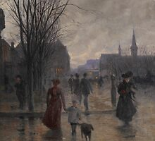 Rainy Evening on Hennepin Avenue, c.1902 by Bridgeman Art Library