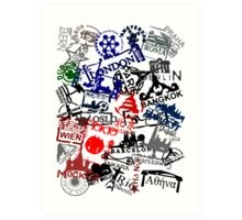 Travel Destination Passport Stamps Art Print