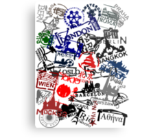 Travel Destination Passport Stamps Metal Print