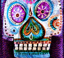 Purple Day of the Dead Sugar Skull folk art painting by dayofthedeadart