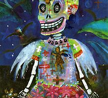Angel Gothic Girl Skeleton - Day of the Dead print by dayofthedeadart