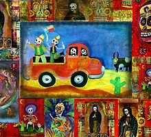 Wild Day of the Dead Texas Cowboys out partying the night away by dayofthedeadart
