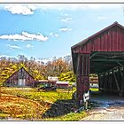OLD BARN AND OLDER COVERED BRIDGE by Randy & Kay Branham