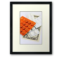 Packings with pills and dollars Framed Print