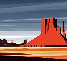 Arizona Desert Landscape Sunset Illustration by SFDesignstudio