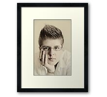 Portrait of a youth on the cusp of manhood Framed Print
