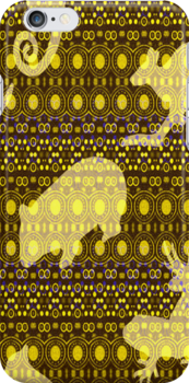 Oz Animal Print iPhone Case in Yellow by Vickie Emms