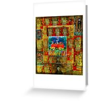Fireman with spotted fire dog in a fire truck - Pop Art - DAY OF THE DEAD Greeting Card