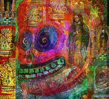 Cráneo Rojo  by dayofthedeadart