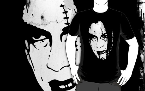 Bloody Scar Face - Cool Horror Grungy T-Shirt Design by Denis Marsili