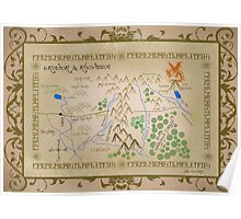 Hobbit map of middle earth. Poster