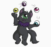 Juggling Cyclops Cat Sticker by sashimineko