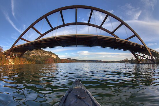 Kayaking Under Pennybacker Bridge - Austin, Texas by RobGreebonPhoto