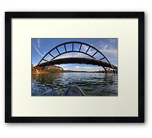Kayaking Under Pennybacker Bridge - Austin, Texas Framed Print