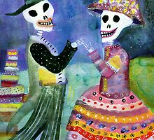 Katrin and Katrina  Wedding Day with Wedding Cake by dayofthedeadart