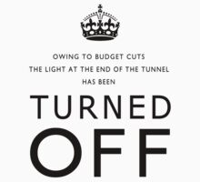 TURNED OFF T-shirt design black letters by Gary Eason