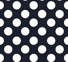 White dots on navy blue - retro style by CatchyLittleArt