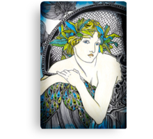 """Appropriation of Alphonse Mucha's """"Woman with Poppies"""" 1898 Canvas Print"""