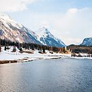 Lake, Church an Scenery at Samedan by Michael Brewer