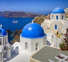 Oia, Santorini, and the Blue Domes by RobGreebonPhoto