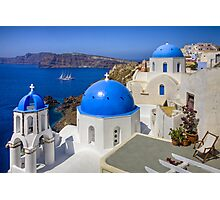 Oia, Santorini, and the Blue Domes Photographic Print