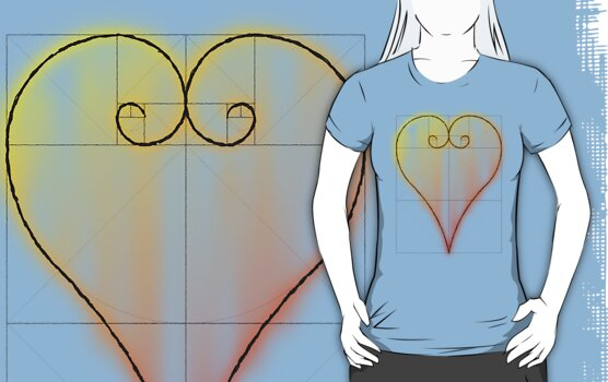 Fibonacci Valntine Heart - Tee Version by Technohippy