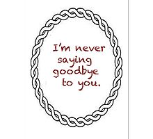 I'm never saying goodbye to you. by aussiecandice