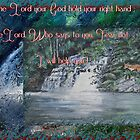 Wilmot Falls, Tasmania... painting with scripture by Elaine Game