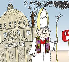 Pope Benedict XVI Quits Vatican cartoon by Binary-Options