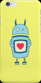 Cute Clumsy Robot With Heart Case by Boriana Giormova