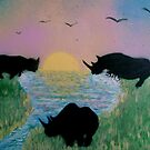 Rhinos by the river by George Hunter