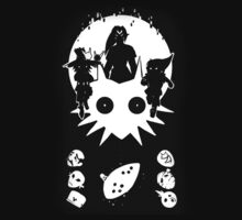 Majora's Mask White Silhouette Print Tee by Reichu
